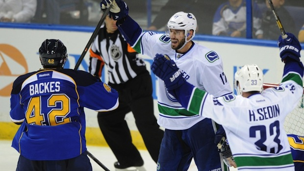 Ryan Kesler of the Vancouver Canucks scores against the St. Louis Blues.