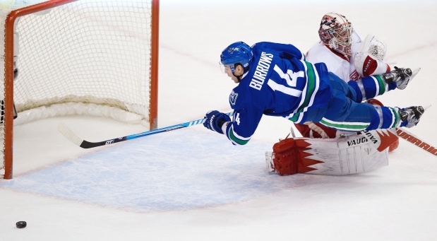 """A summary of Burrows' """"puck luck"""" summed up in one picture. Puck drop is 4:30 pm/pst tonight against the Detroit Red wings at Joe Louis Arena.  (Photo courtesy of vancouversun.com)"""