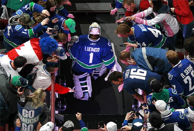 Roberto Luongo exits the ice at Rogers Arena.
