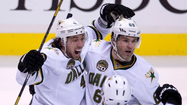 Surrey native, Brenden Dillon, of the Dallas Stars scores the game-winner against the Vancouver Canucks.